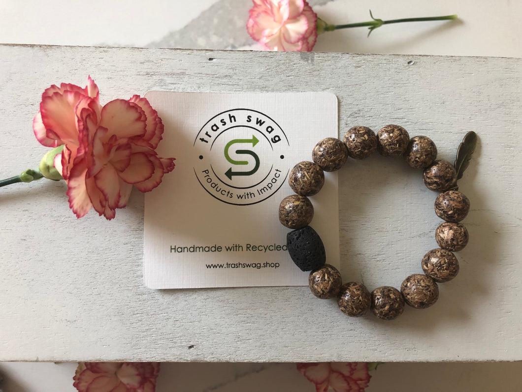 Recycled Pacific Wood Lava Rock Bracelets