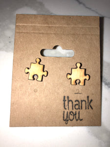 Wooden Autism Puzzle Earrings