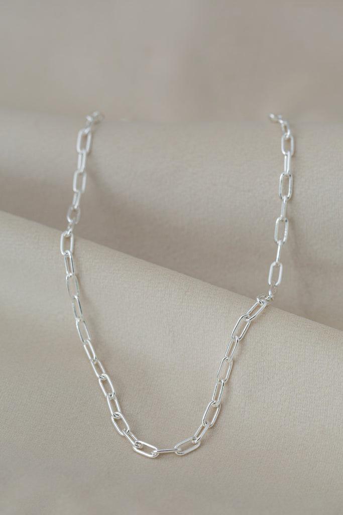 Chunky Chain Necklace Silver on silk