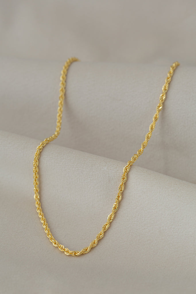 Chunky Rope Necklace Gold on silk