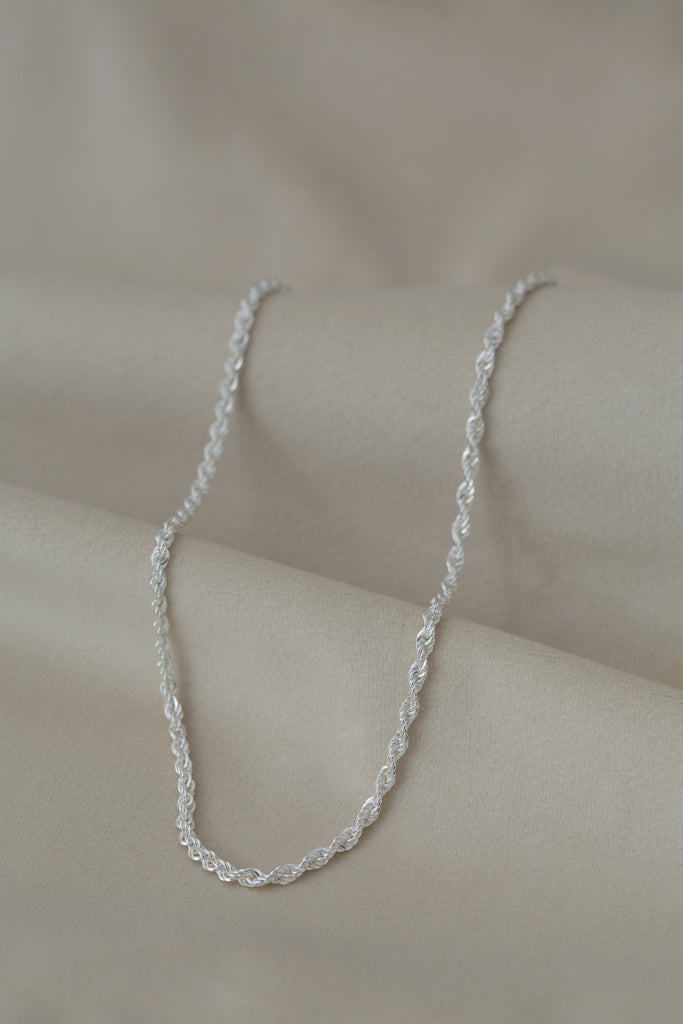 Chunky Rope Necklace Silver on silk