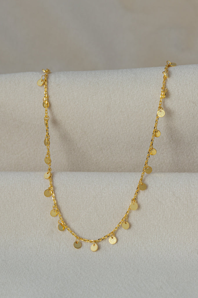 Coins Gold Necklace on silk