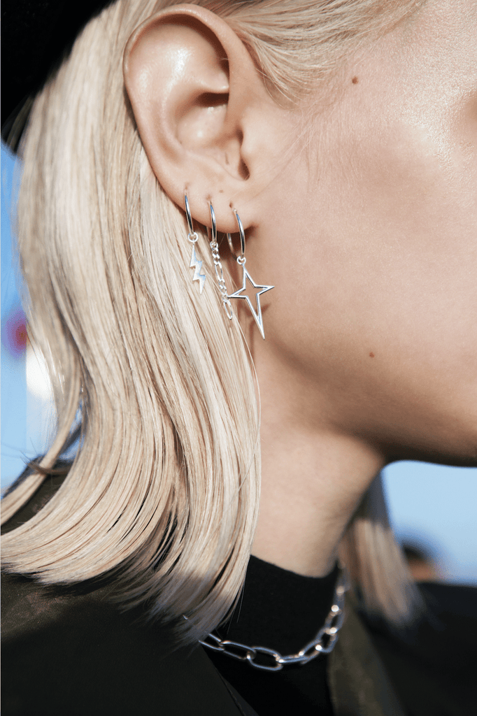 Lightning Silver Earring