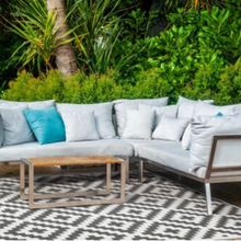 Grey Outdoor Rug - Aztec Design