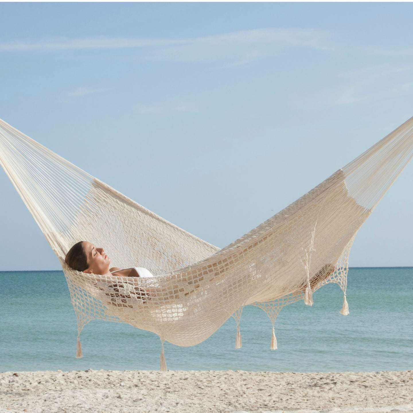 Deluxe Cotton Outdoor Hammock- Cream