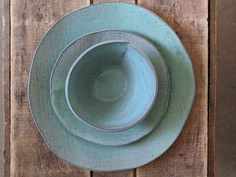 handbuilt 3-piece place setting in patina