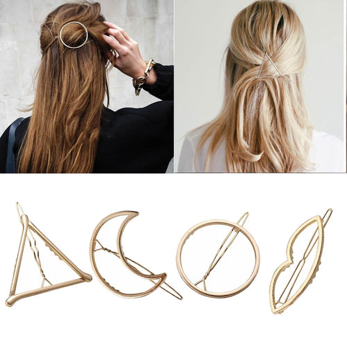 Geometric Alloy Metal Hair Clip Pin