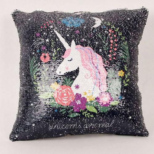 [ FREE ] Sequins Unicorn Cushion Cover
