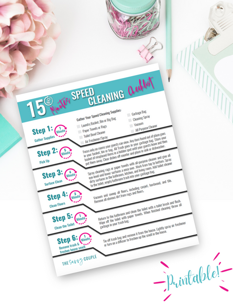 15 Minute Speed Cleaning Checklist {Digital Download}