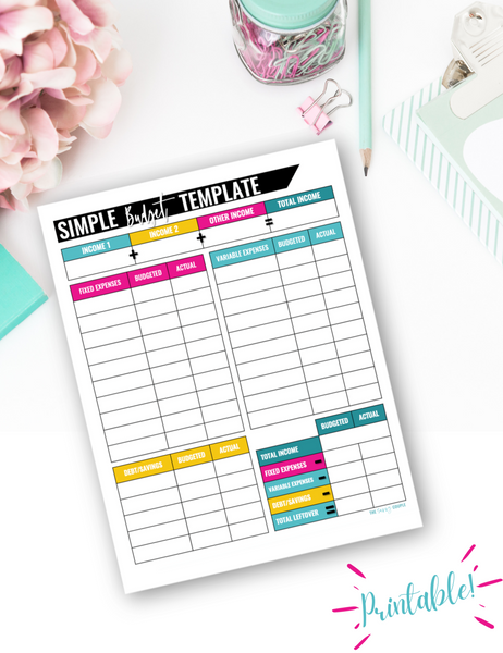 Simple Monthly Budget Template {Digital Download}