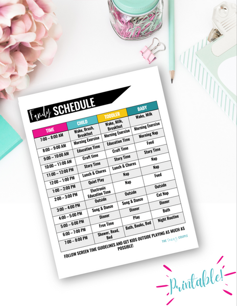 Kids at Home Family Schedule {Digital Download}