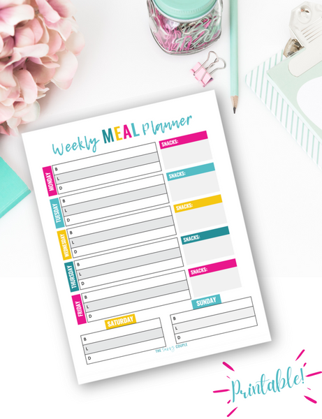Weekly Meal Plan Worksheet {Digital Download}