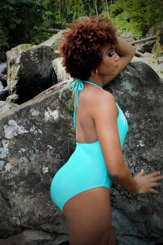 Flamingoes NeonGlow Turquoise One Piece Swim