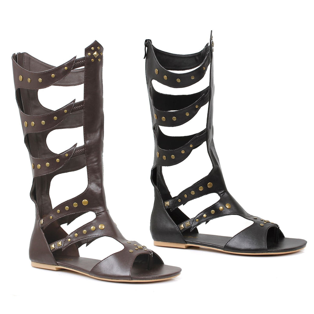 Black Mens Knee High Flat Sandal Halloween Warrior Gladiator Roman Costume Shoes