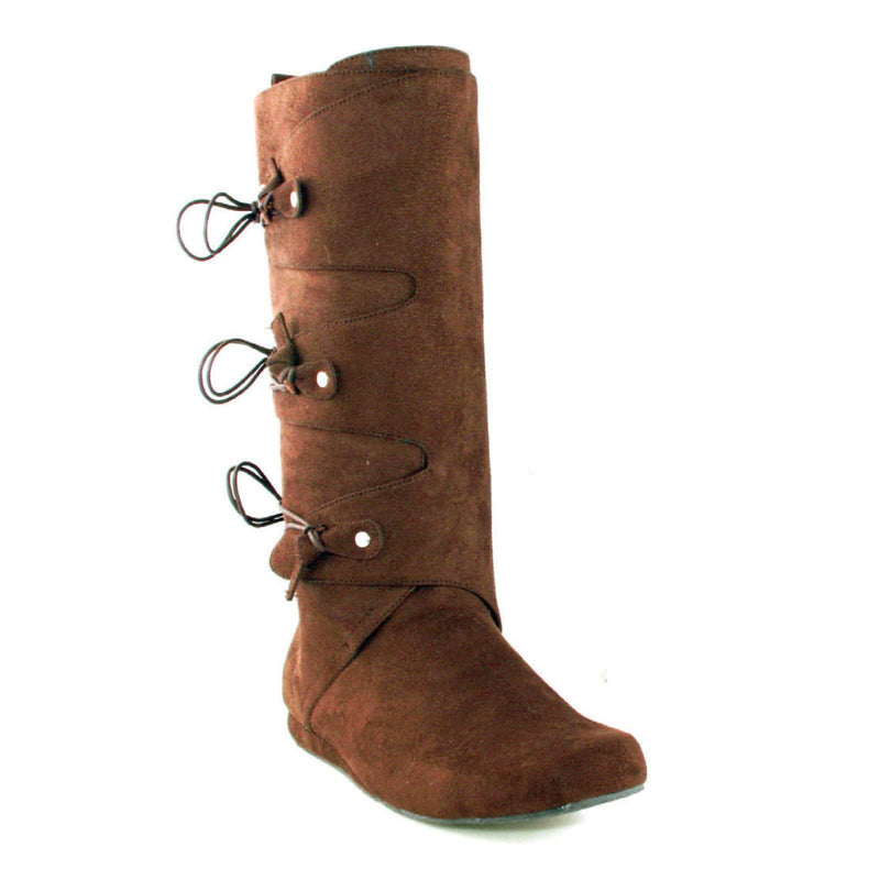 Brown Microfiber Mens Knee High Indian Boots String Attached 1031 111-THOMAS