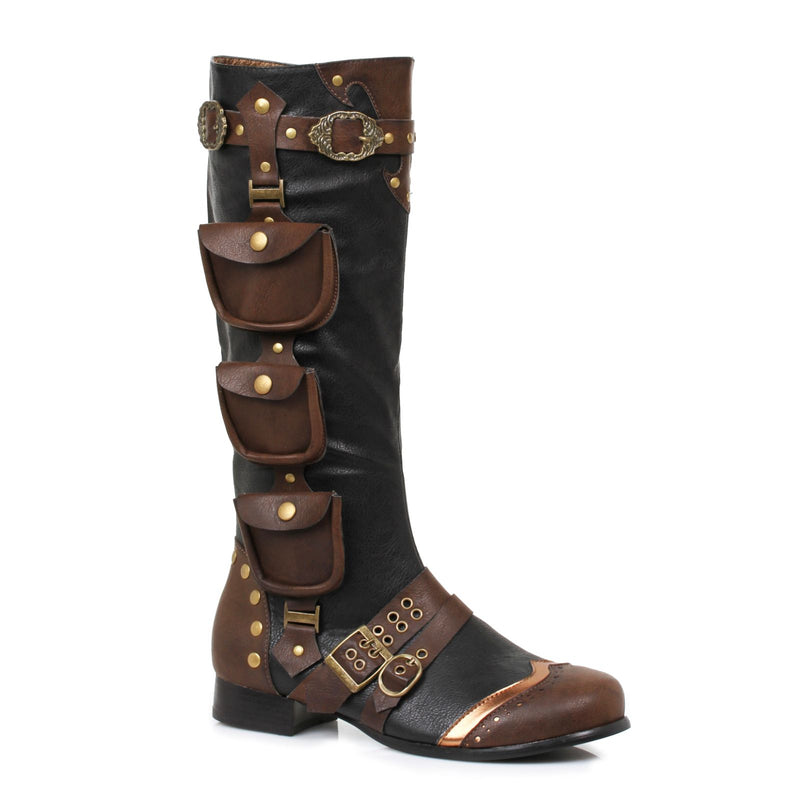 Black Mens Knee High Boots Steampunk Pirate Captain Renaissance Fair Costume