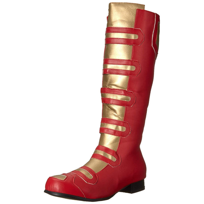 Red Gold Mens Knee High Boots Halloween Power Ranger Superhero Cosplay Costume