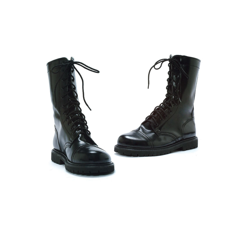 Black Mens Lace Up Military Combat Ankle High Boots Camp Army Soldier Shoes