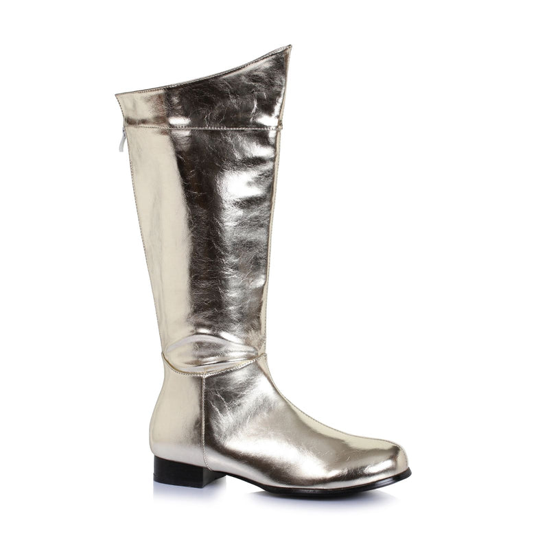 Gold Mens Knee High Boots Super Hero Comic Book Captain Marvel Cosplay Costume