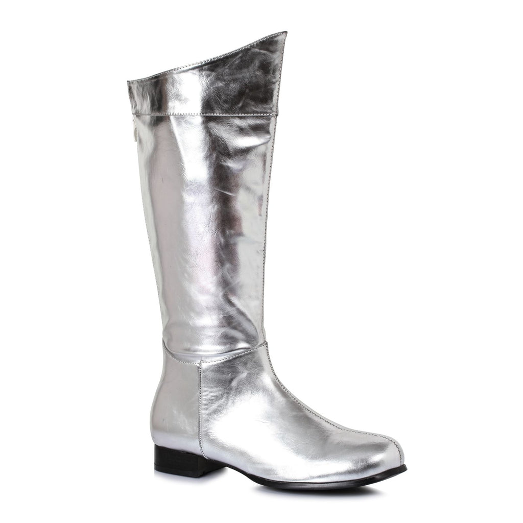 Silver Mens Knee High Boots Mr Freeze Super Hero Comic Book Cosplay Costume