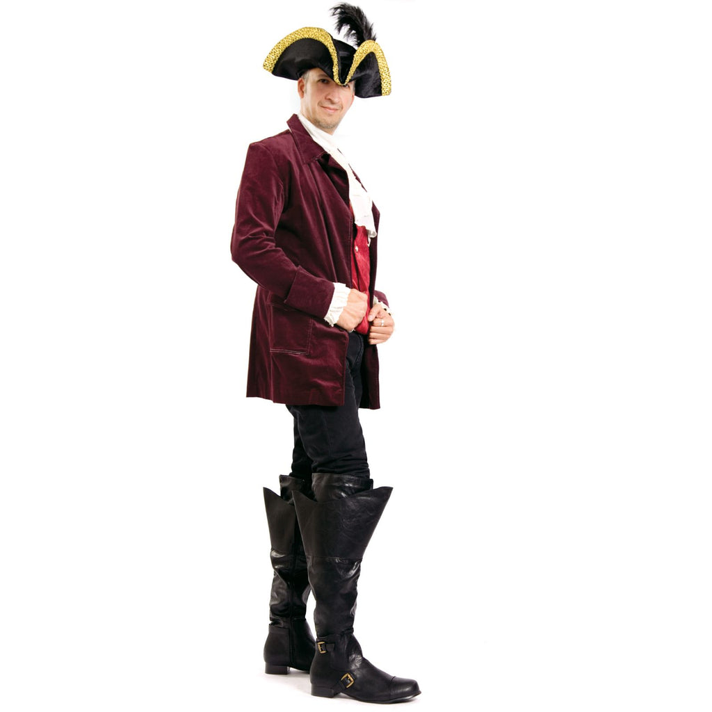 Black Matte Mens Knee High Boots Wide Mouth Halloween Renaissance Pirate Costume