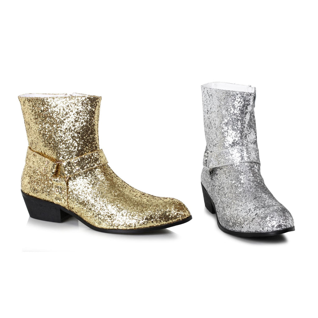 Gold Glitter Mens Calf Boots Disco Dynamo Dance Halloween Costume Shoes Side Zip
