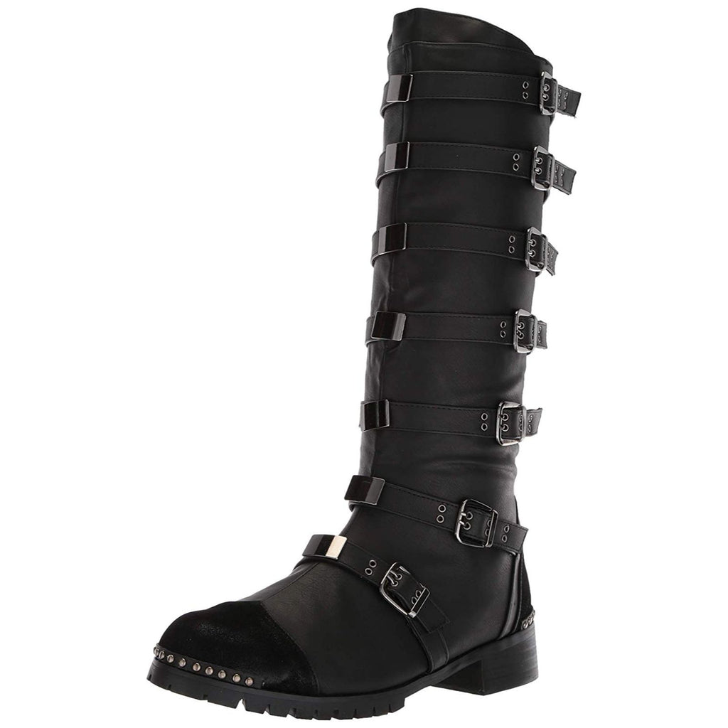 Black Mens Mid Calf Boots Goth Punk Steampunk Combat Multi Buckles Studs Accent