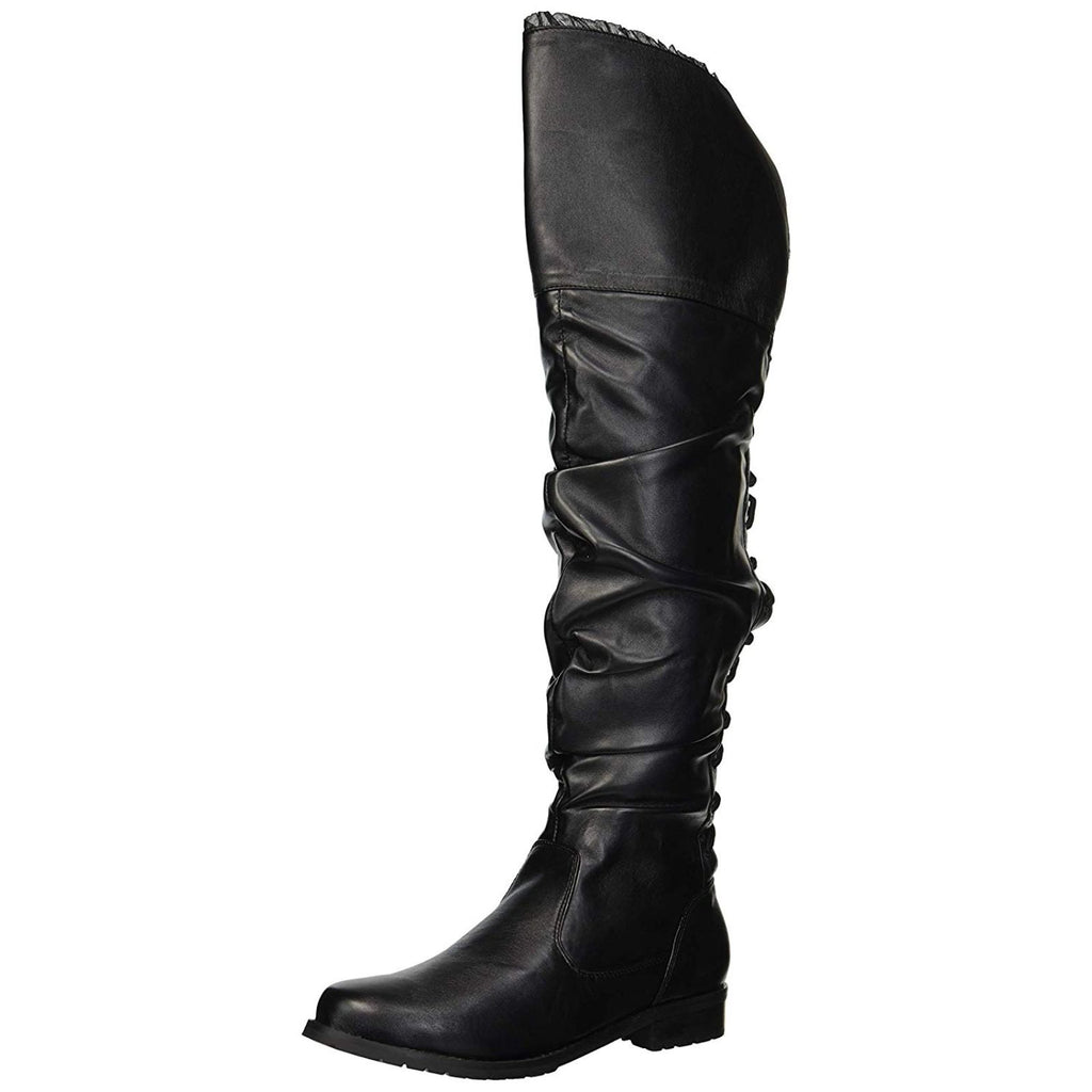 Black Pirate Equestrian Women Lace Up Zip Over Knee Boots Ellie Shoes 181-TYRA