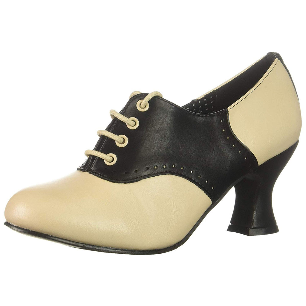 Black Costume Saddle Classic Louis Spool Oxford Sock Hop Lace Up Women 253-PEGGY
