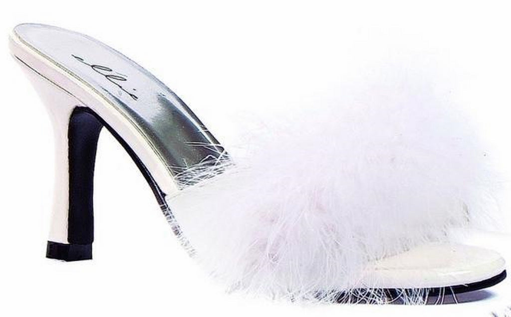 White Womens Open Toe Marabou Mules Slipper Sandals High Heels Feather Shoes