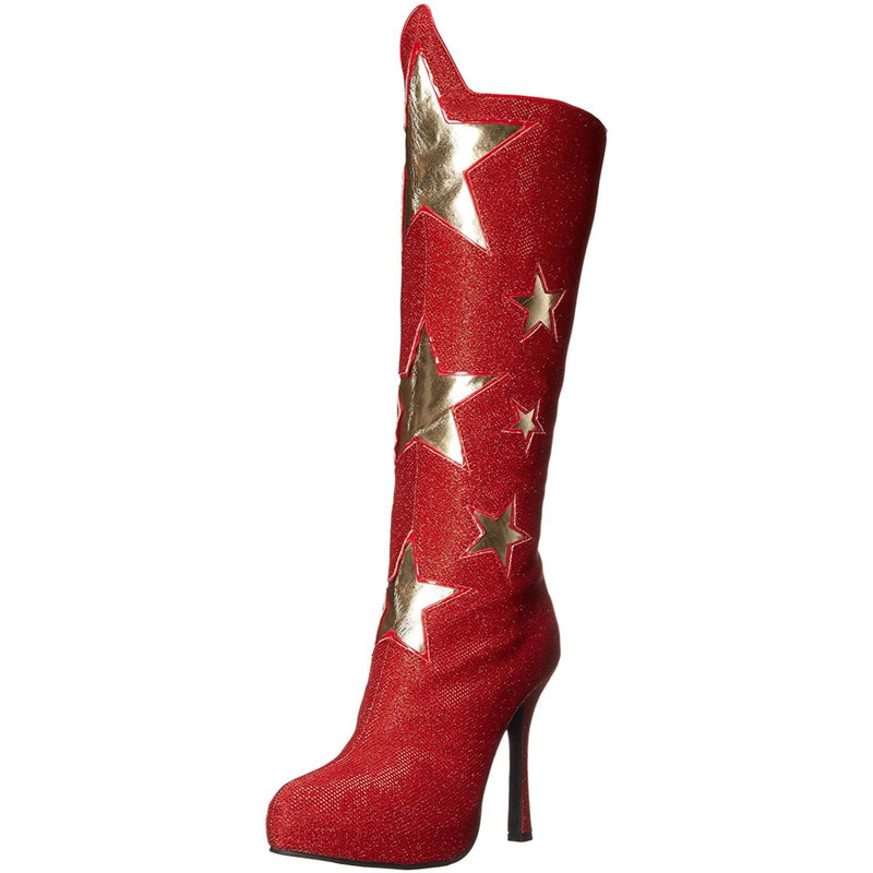Red Knee High Boots Platform Womens Halloween Cosplay Hero Costume Gold Stars