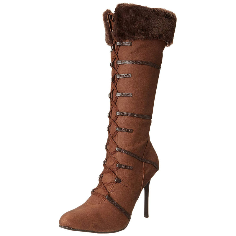 Brown Lace Up Knee High Boots Fur Trim Native American Indian Halloween Costume