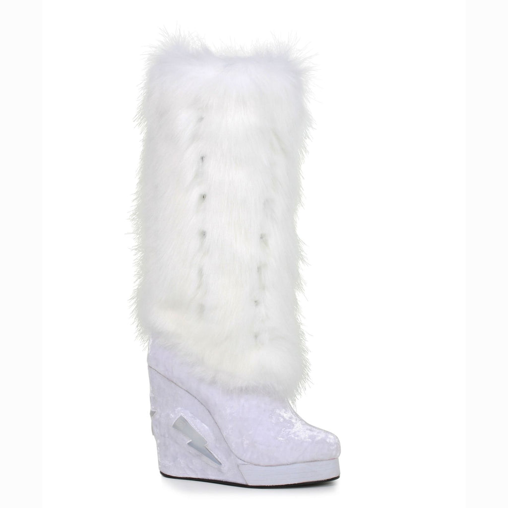White Mid Calf Womens Boots Light Up Costume Platforms Furry Raver Wedge Shoes