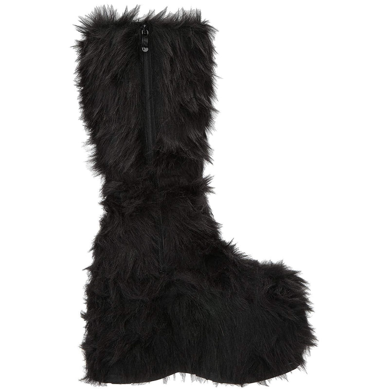 Black Fur Womens GoGo Knee High Boots Platform Yetti Snow Monster EDC Rave Goth