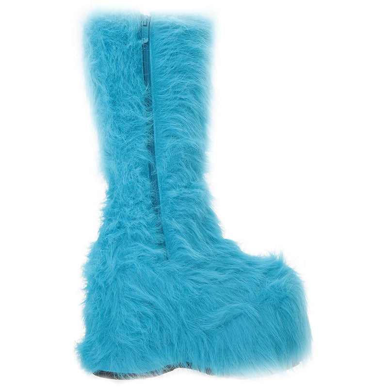 Blue Fur Womens GoGo Knee High Boots Platform Yetti Snow Monster EDC Rave Goth