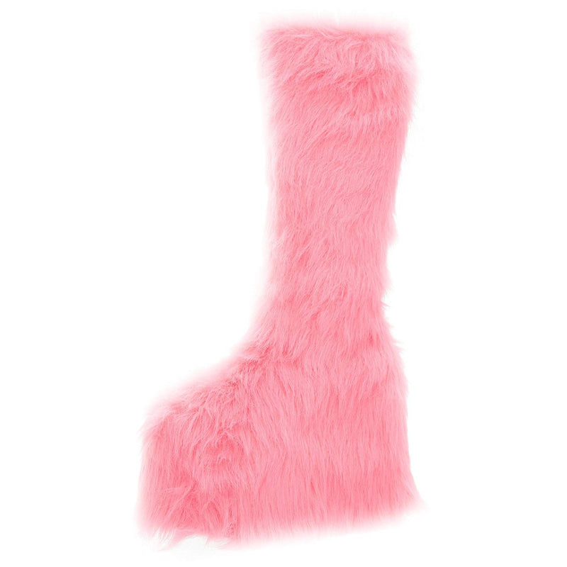 Pink Fur Womens GoGo Knee High Boots Platform Yetti Snow Monster EDC Rave Goth