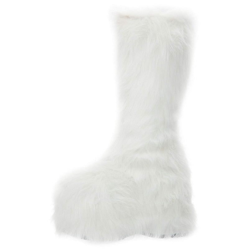 White Fur Womens GoGo Knee High Boots Platform Yetti Snow Monster EDC Rave Goth