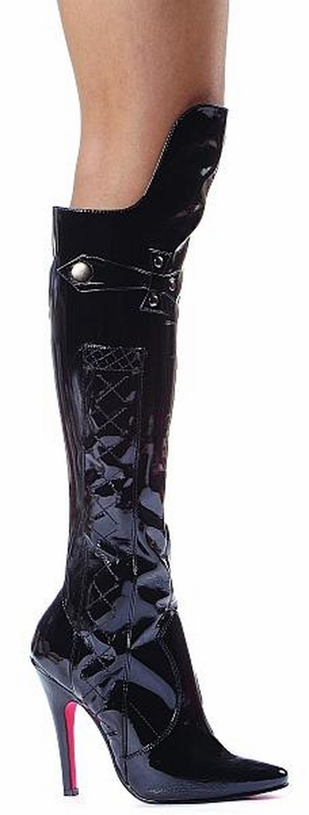 Black Costume Women Knee High Boot Whip Stiletto High Heel Ellie Shoes 511-SADIE