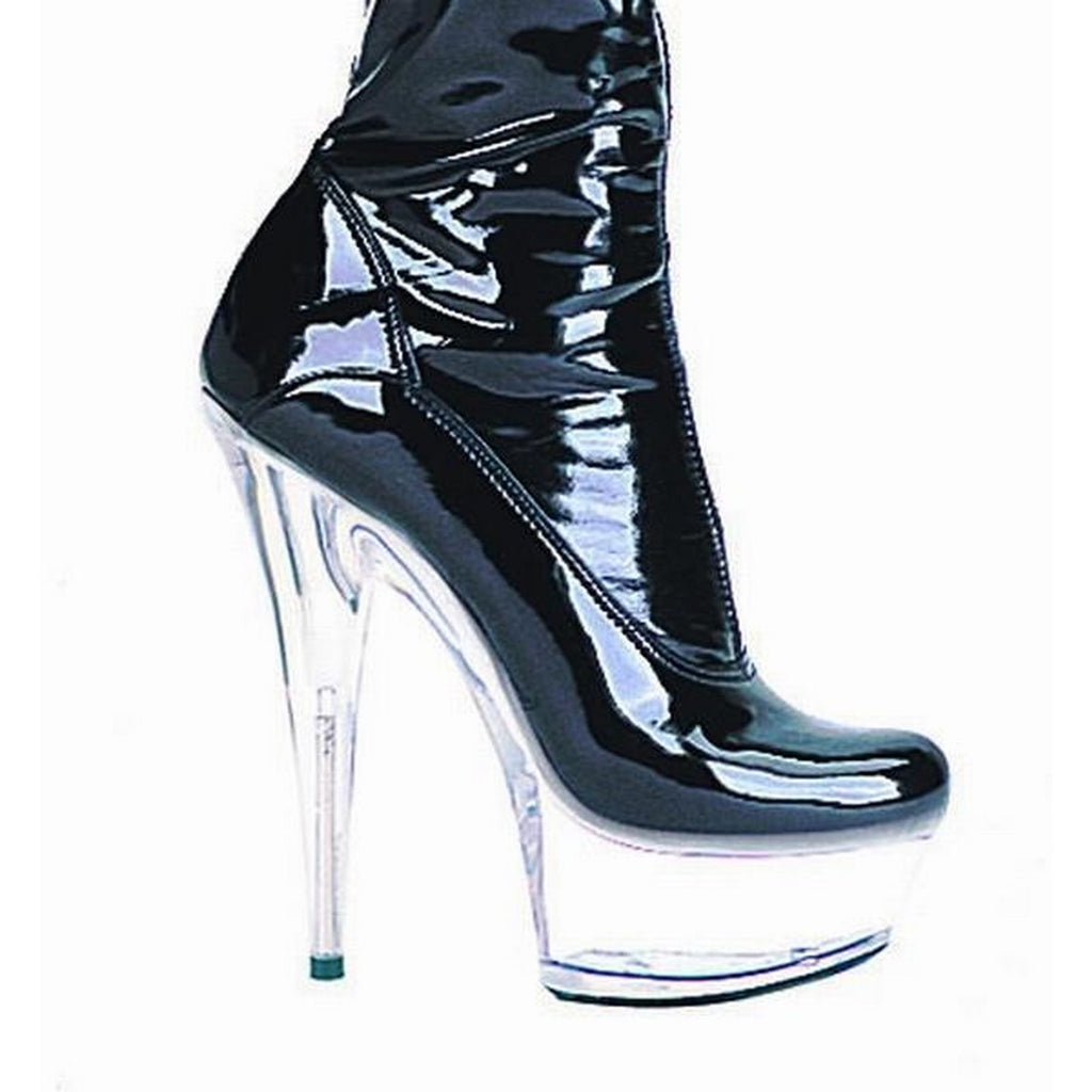 Black Clear High Heel Stiletto Thigh High Boot Womens Platform Clubwear Ellie