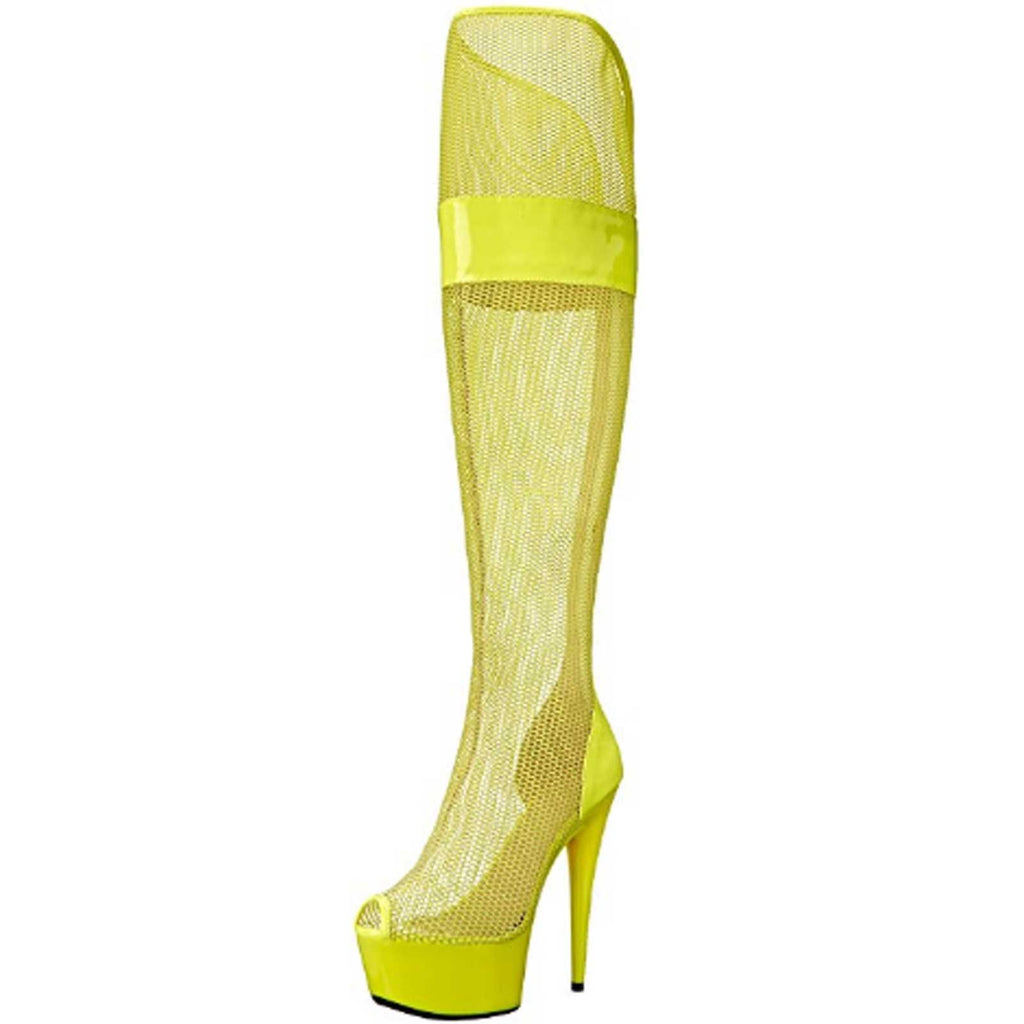 Yellow Sexy Womens Peep Toe Thigh High Mesh Boot Platform Ellie Shoes 609-IVY