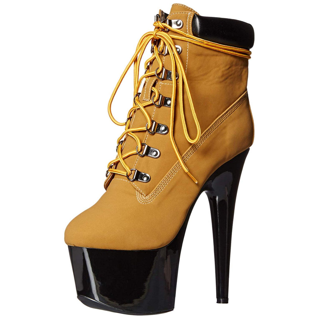 Tan Womens Lace Up Ankle Boots Platform Stripper Sexy Exotic Dance High Heels