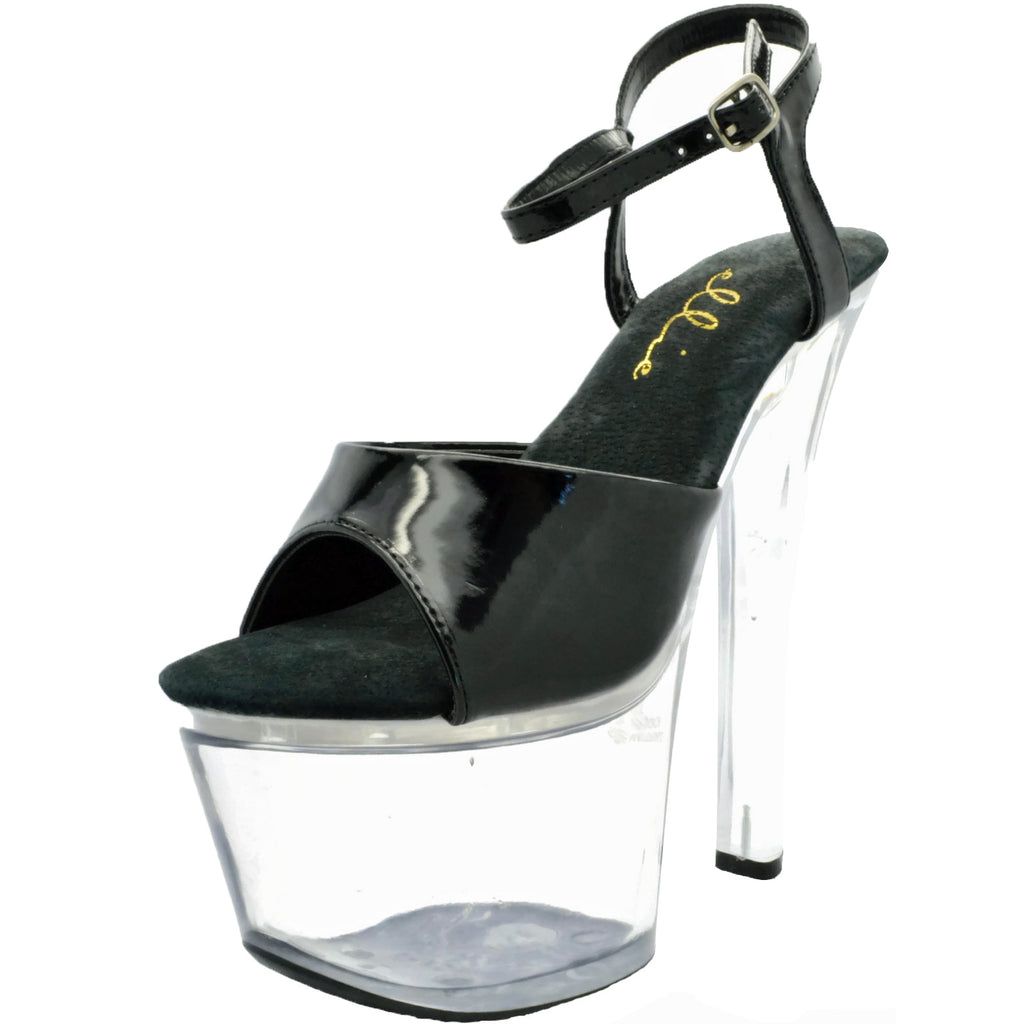 Black Clear Ankle Strap Sandals Platform Sexy Stripper Dancer Shoes 711-FLIRT-C