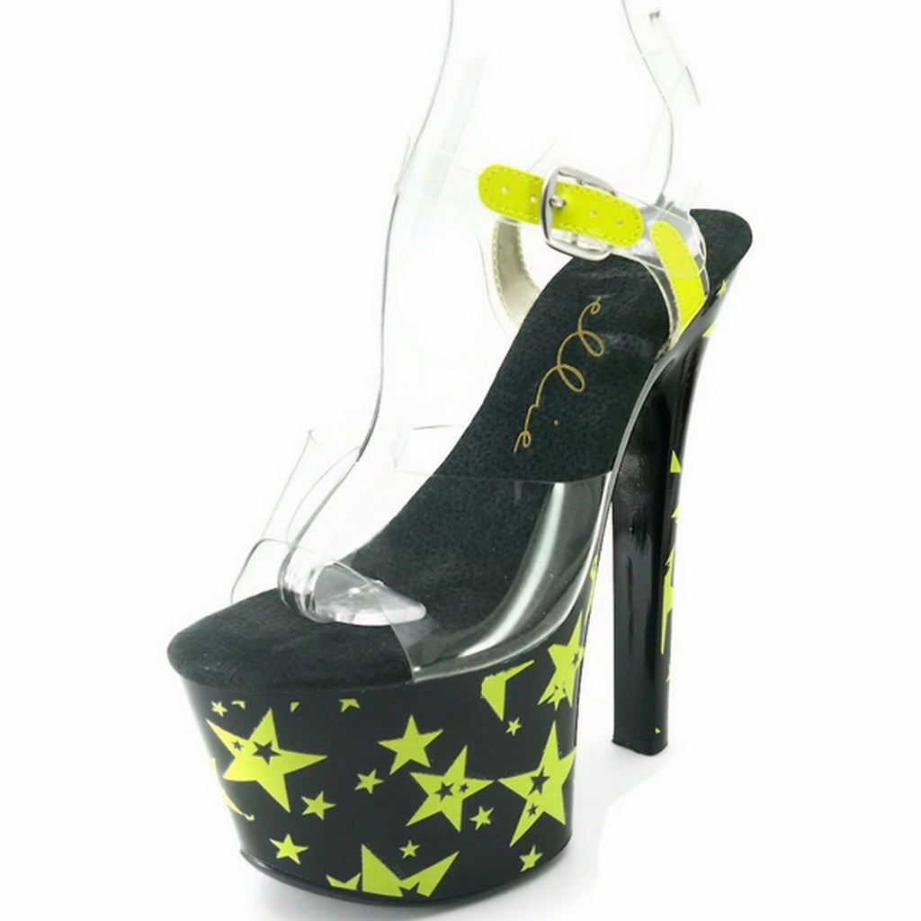 Yellow Blacklight Stars Ankle Strap Sandal Platform Stripper Sexy Dancer Shoes
