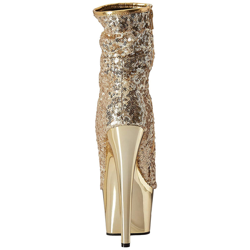 Gold Sequins Peep Toe Ankle Boots Platform Sexy Exotic Pole Dancer High Heel