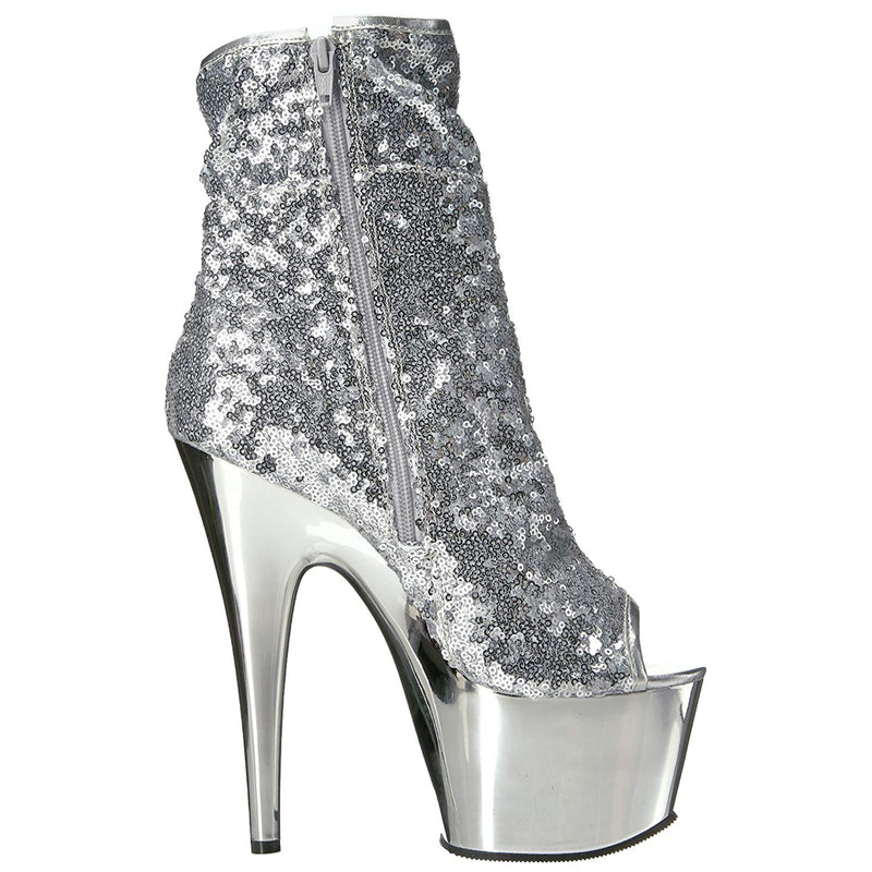 Silver Sequins Peep Toe Ankle Boots Platform Sexy Exotic Pole Dancer High Heel