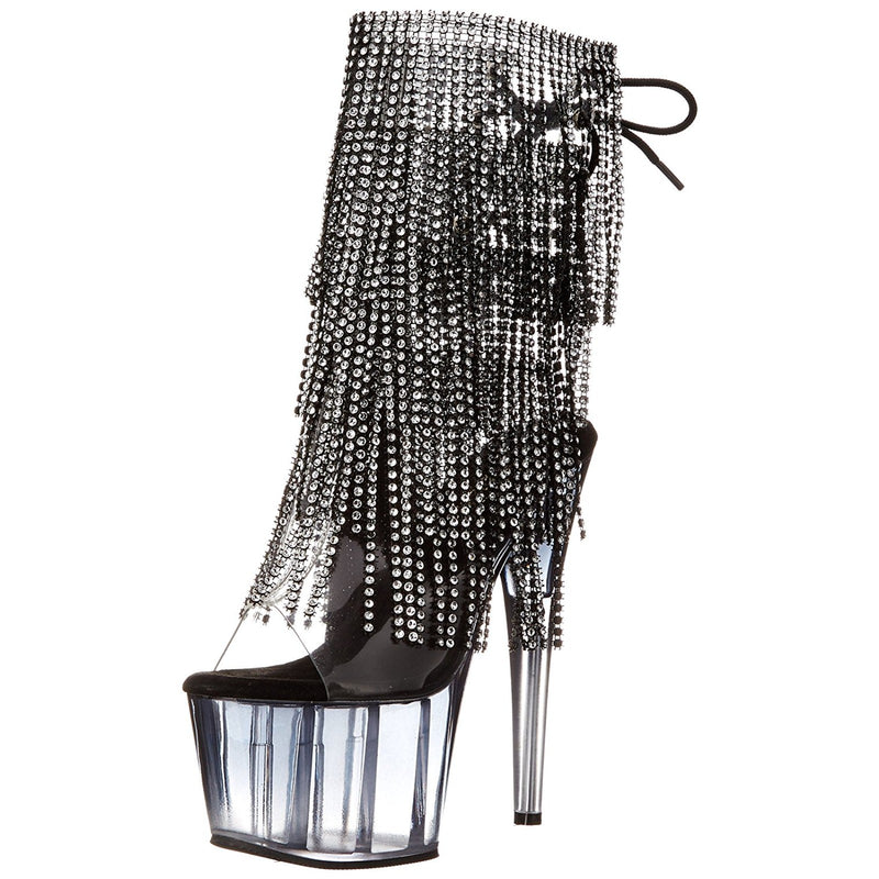 Black Lace Up Rhinestone Fringe Ankle/Mid-Calf Boots Platform Exotic Dancing