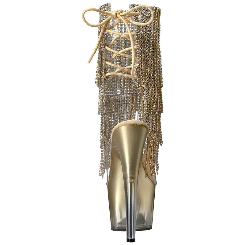 Gold Lace Up Rhinestone Fringe Ankle Mid-Calf Boots Platform Exotic Dancing