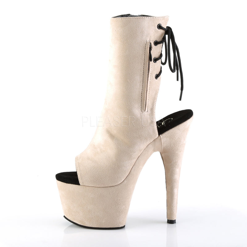 Beige Faux Suede Ankle High Boots Platform Stripper Sexy Exotic Dancing Clubwear