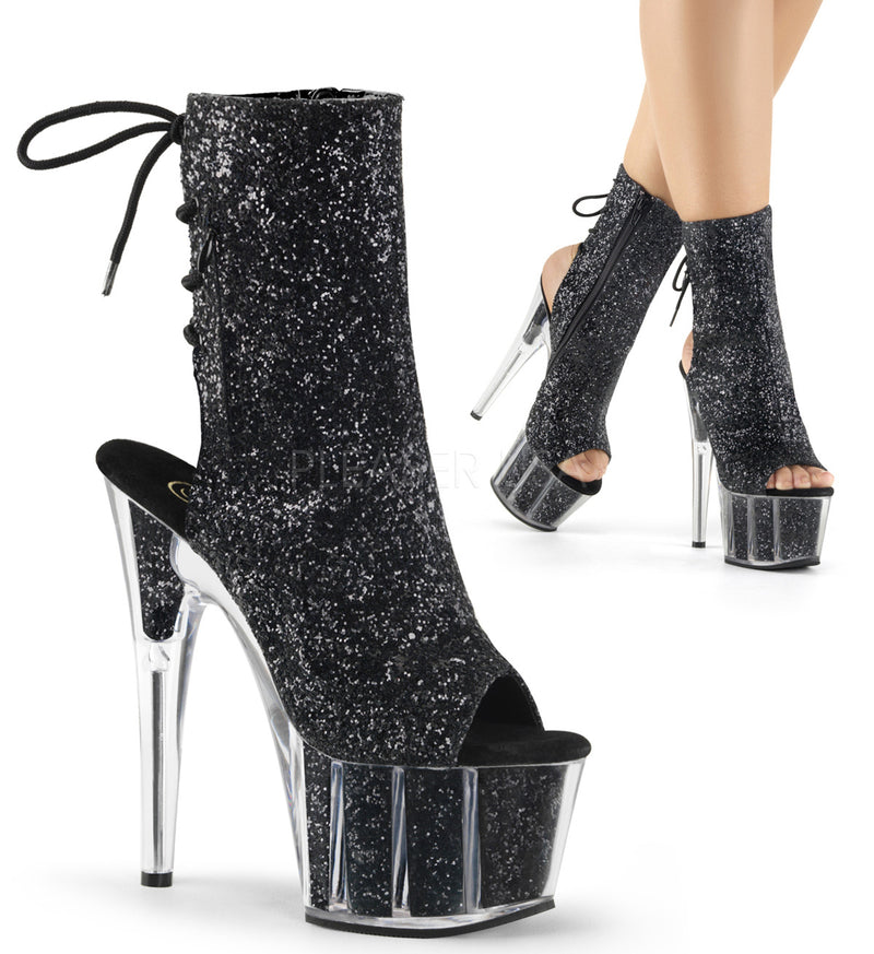 Black Glitter Ankle High Boots Platform Stripper Sexy Exotic Dancing Clubwear