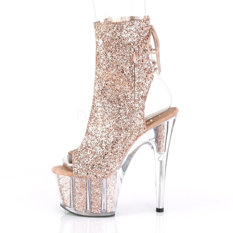 Rose Gold Glitter Ankle High Boots Platform Stripper Sexy Exotic Dancer Clubwear